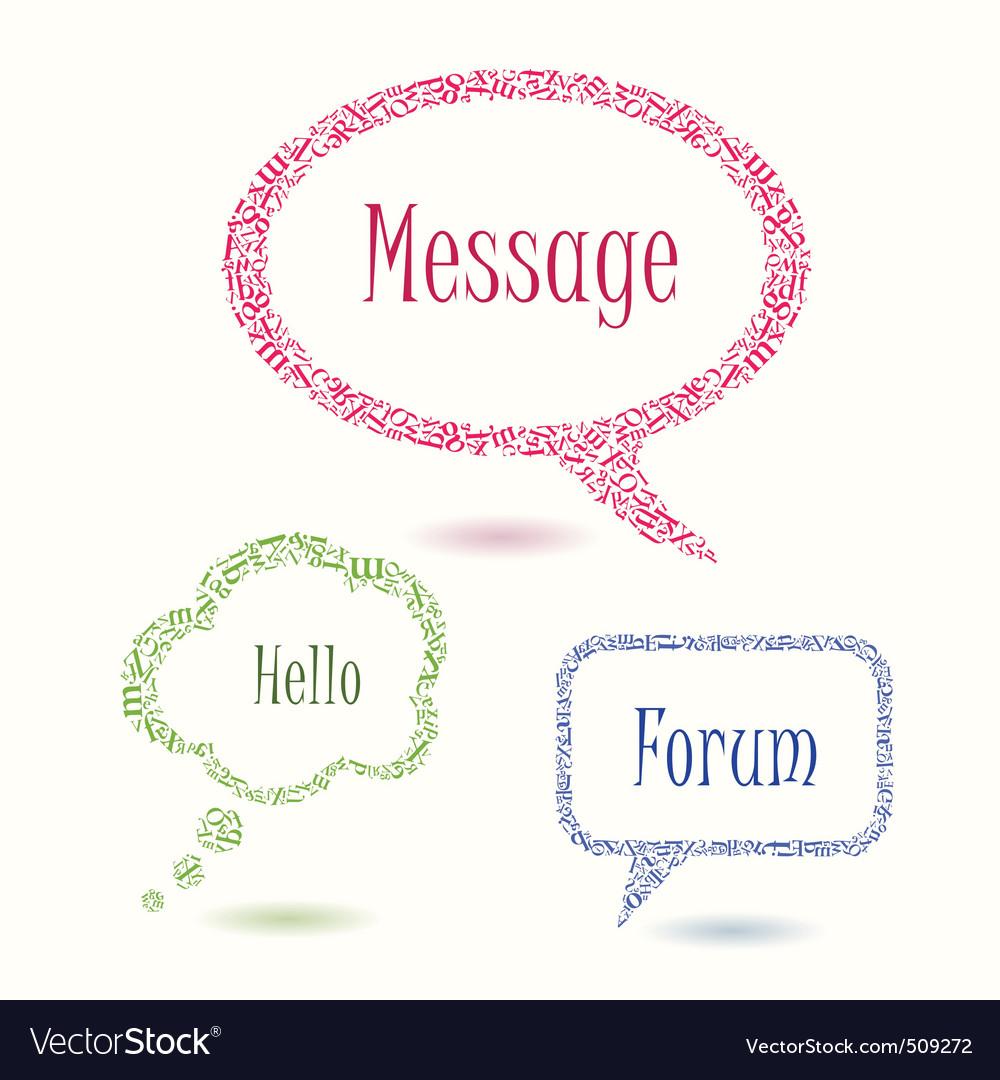 Colorful bubbles speech letters vector image