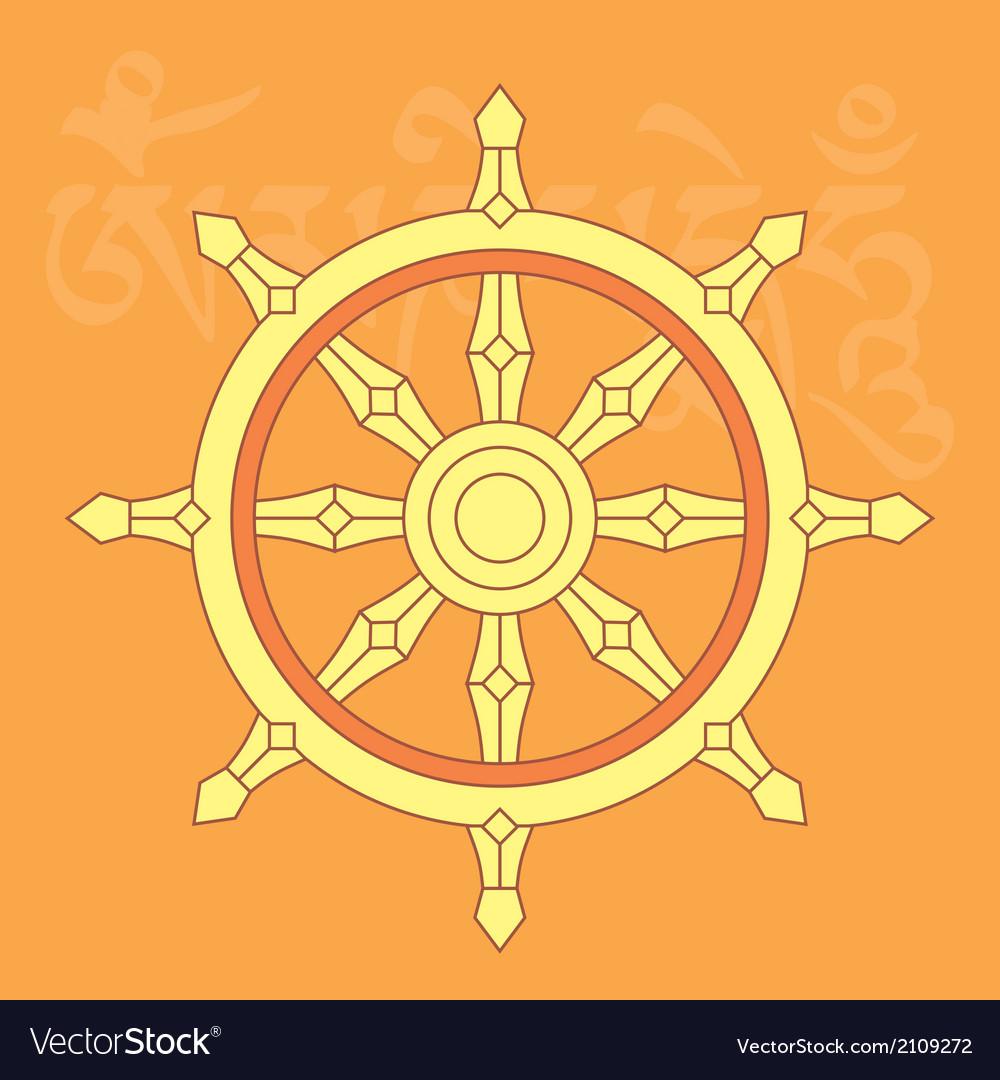 Dharma wheel-buddhist religious symbol vector image