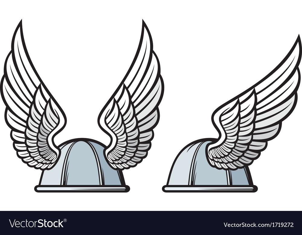 Gaelic helmet with wings vector image