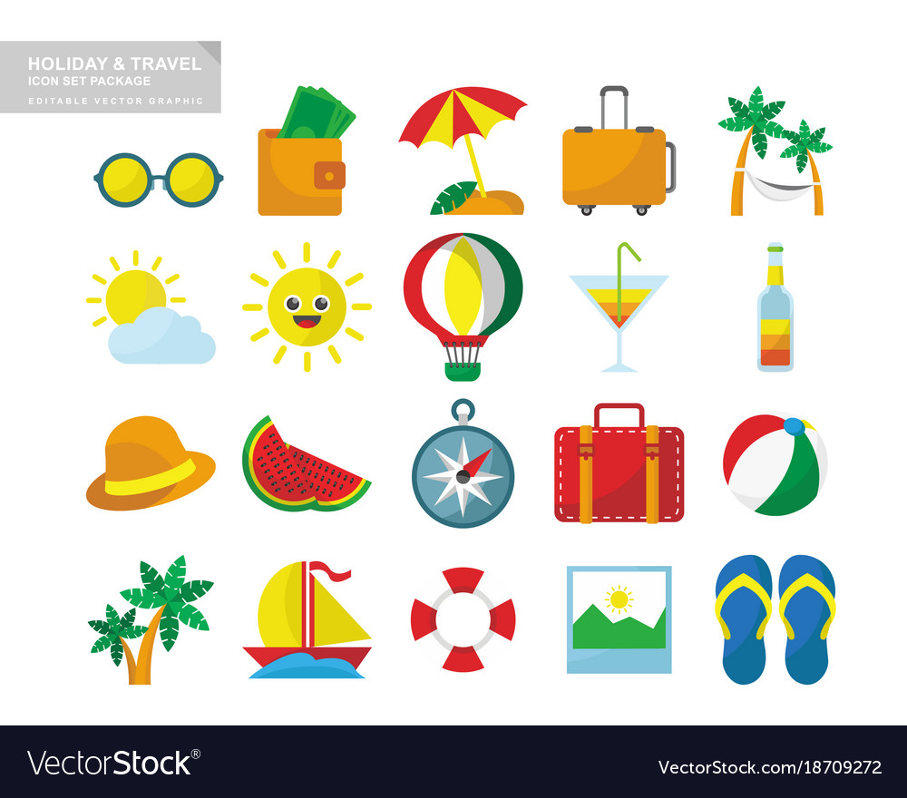 Holiday Travel Icon Set Package Vector Image