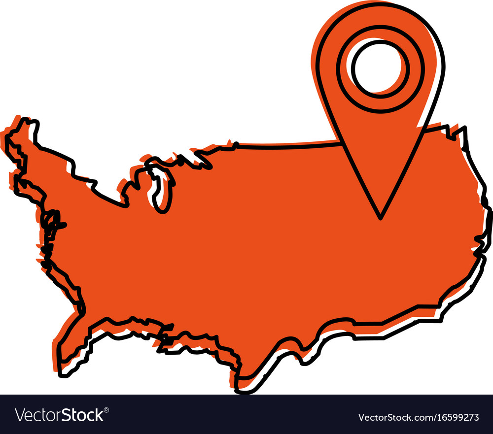 Usa Map Outline With Gps Pin Icon Image Royalty Free Vector - Us map outline vector