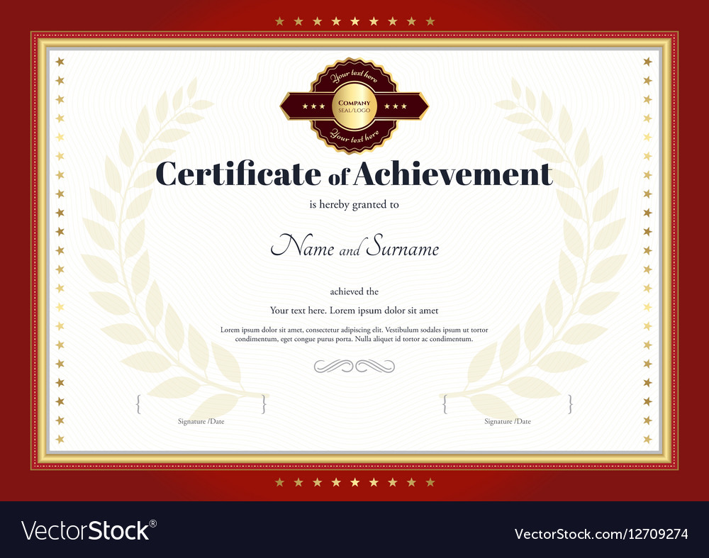 Certificate of achievement template red border vector image yadclub Image collections