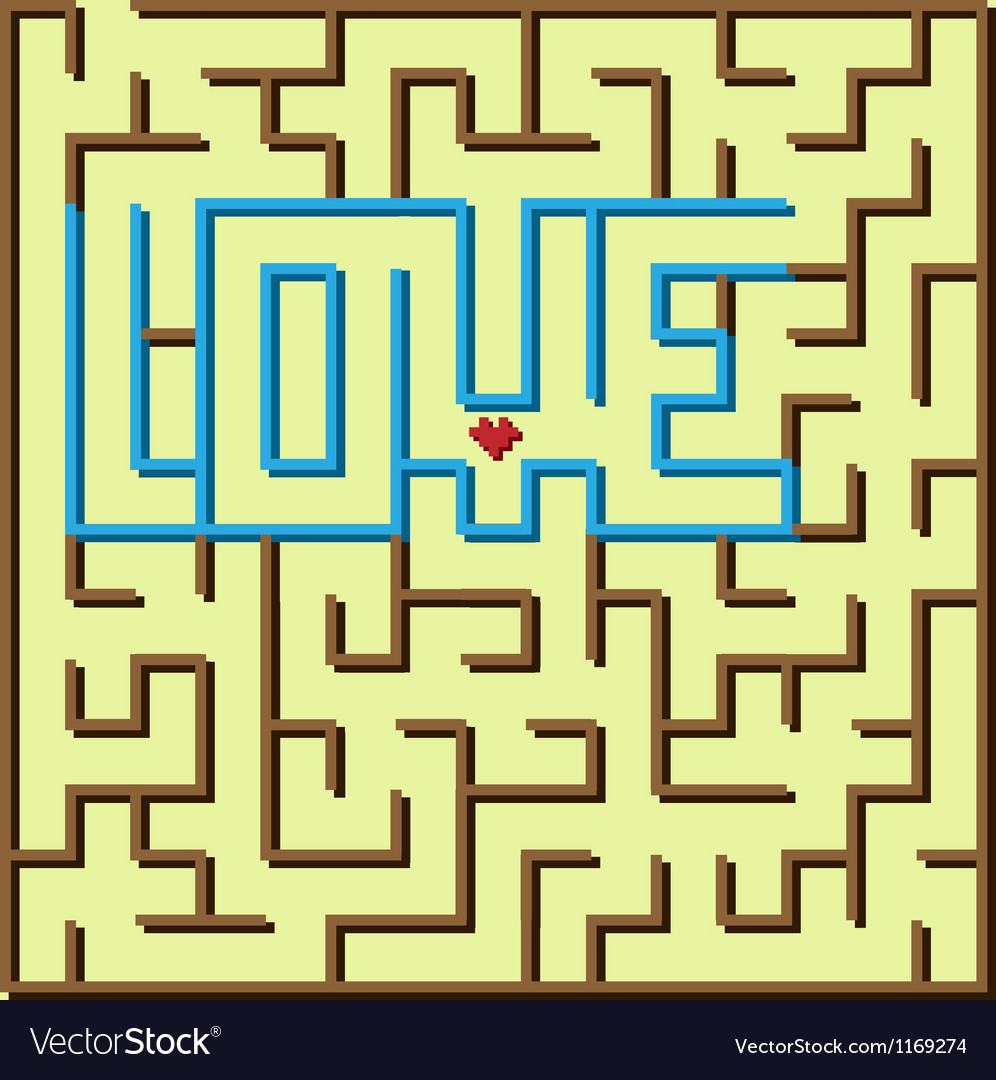 Love labyrinth game vector image