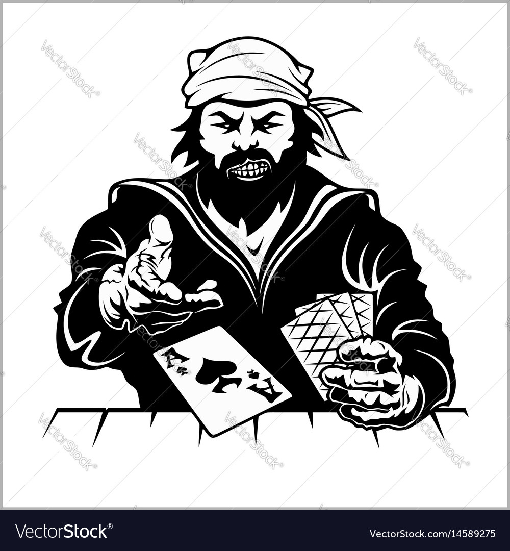 Pirat with playing cards vintage stylized drawing vector image