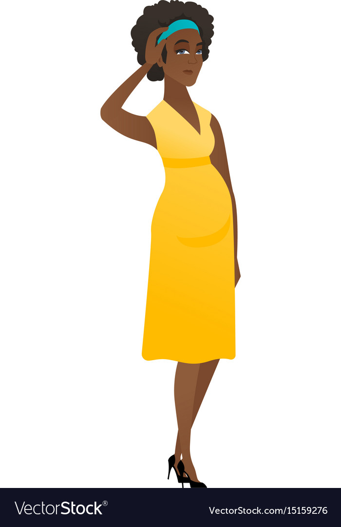 Young african pregnant woman scratching her head vector image