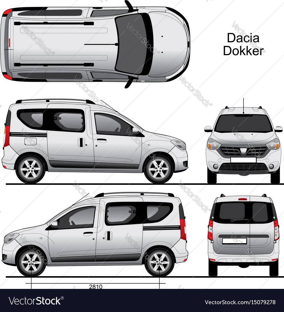 dacia dokker passenger van 2013 royalty free vector image. Black Bedroom Furniture Sets. Home Design Ideas