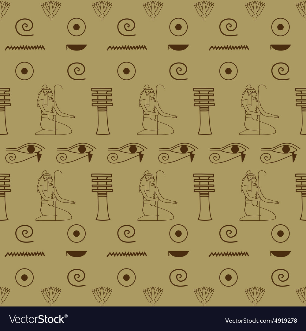 Pattern of Egyptian hieroglyphics vector image