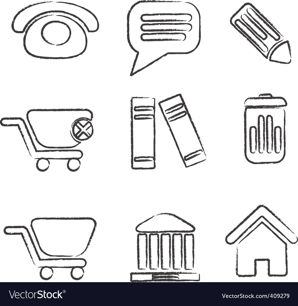 Hand drawn office signs vector image