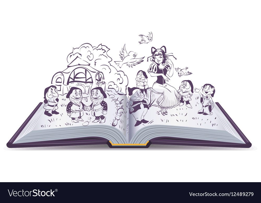 Open book Fairy tale Snow White and vector image