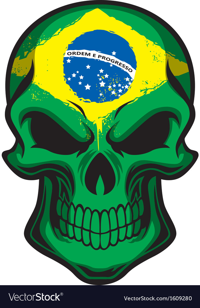 Brazil flag painted on skull vector image