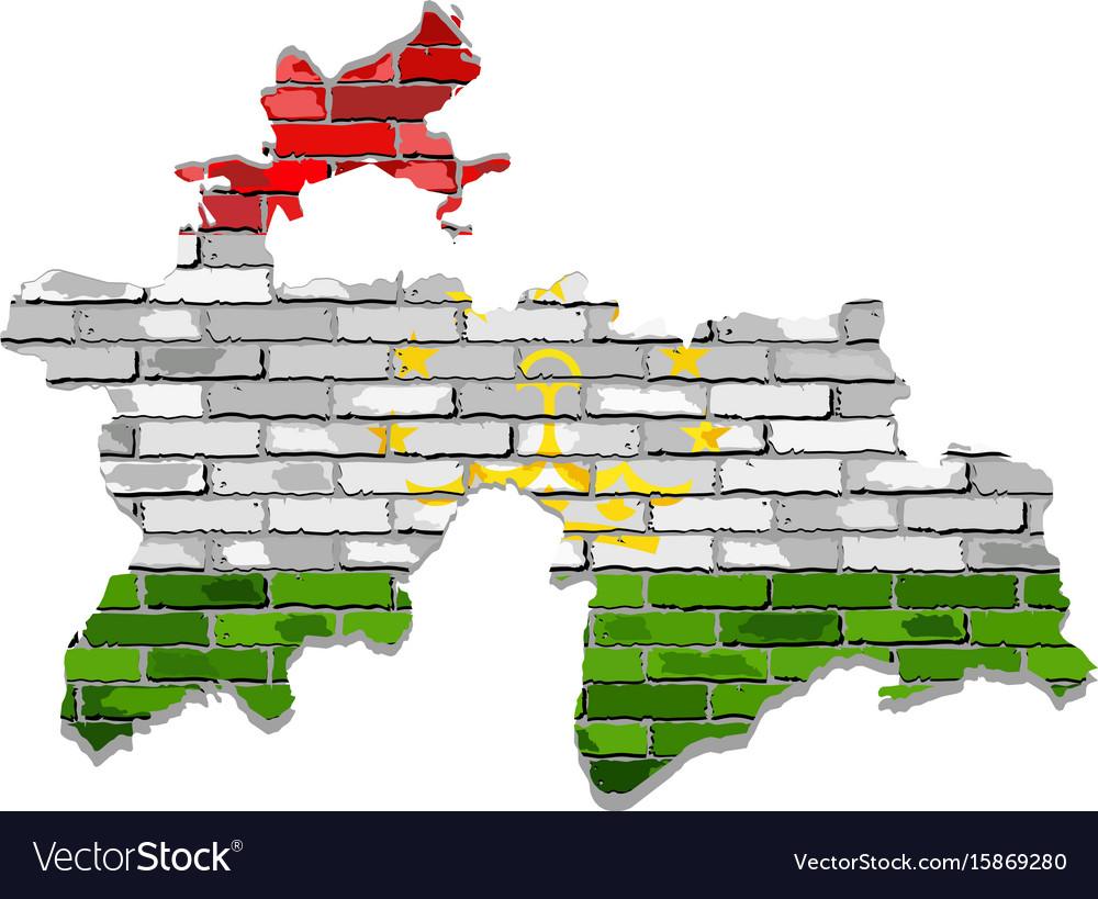 Tajikistan Map On A Brick Wall Royalty Free Vector Image - Tajikistan map vector