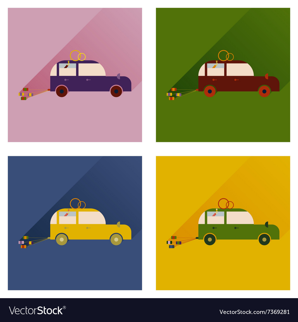 Set of flat icons with long shadow wedding car