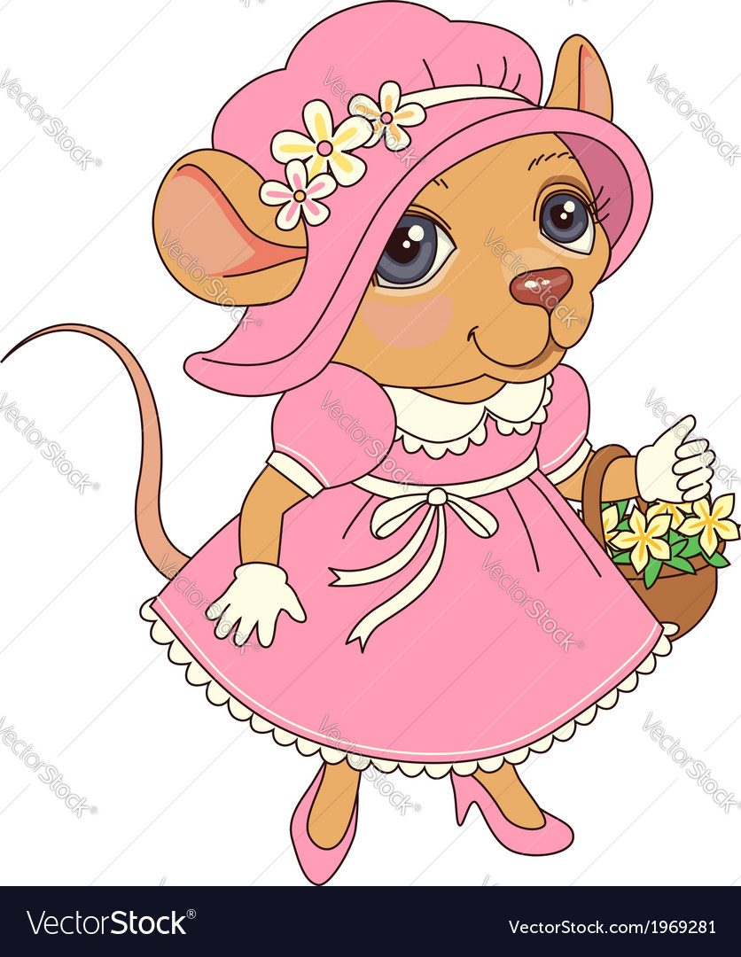 Cartoon mouse pink vector image