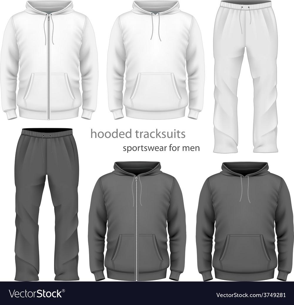 Men hooded tracksuit vector image