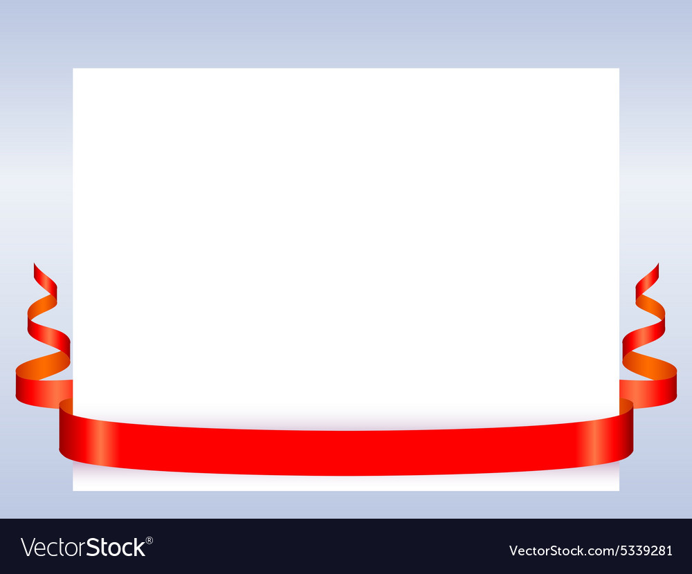 Red ribbon with paper vector image