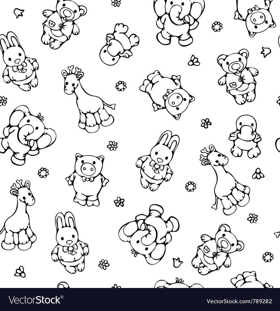 Seamless pattern of cute animals vector image