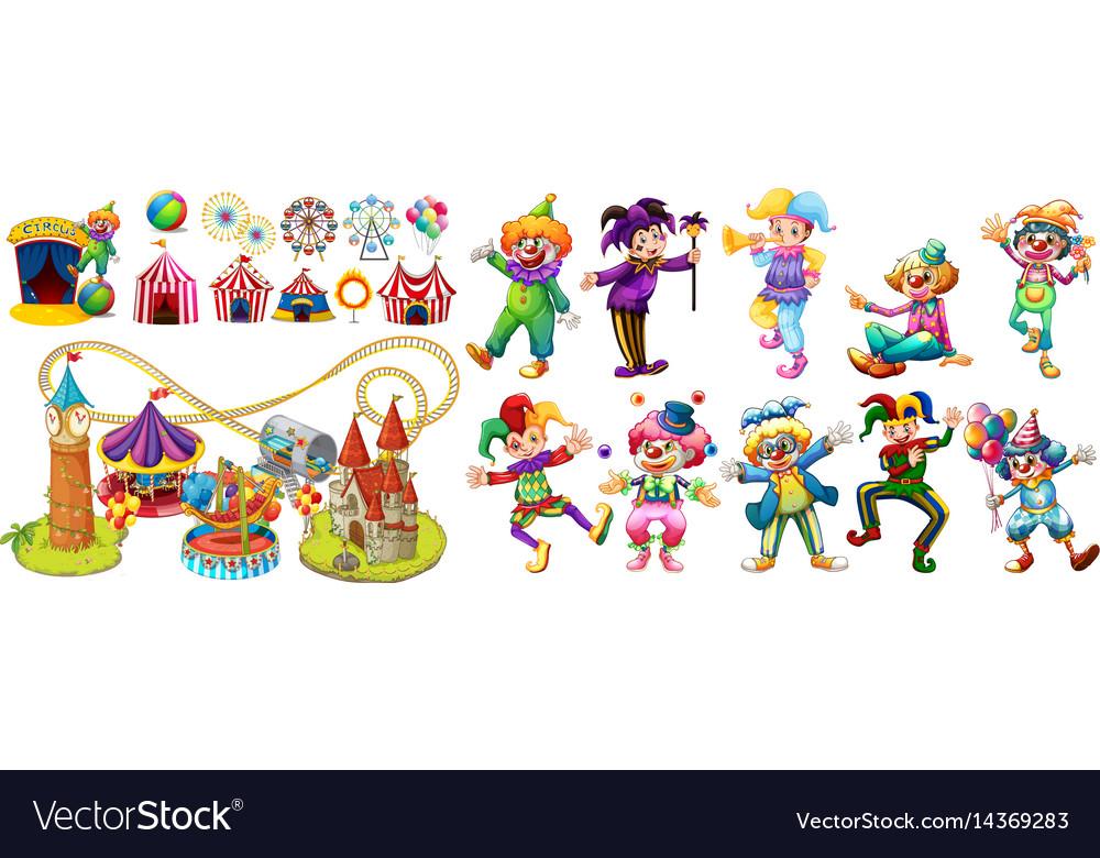 Circus clowns and many rides vector image