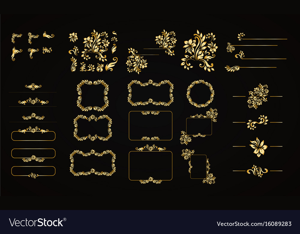 Golden calligraphic design elements on the vector image