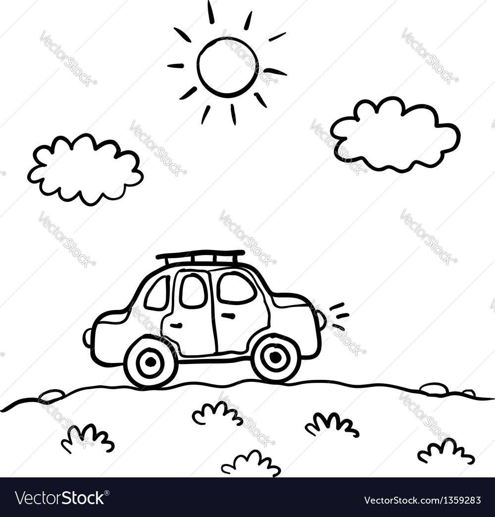 Little cartoon funny car vector image