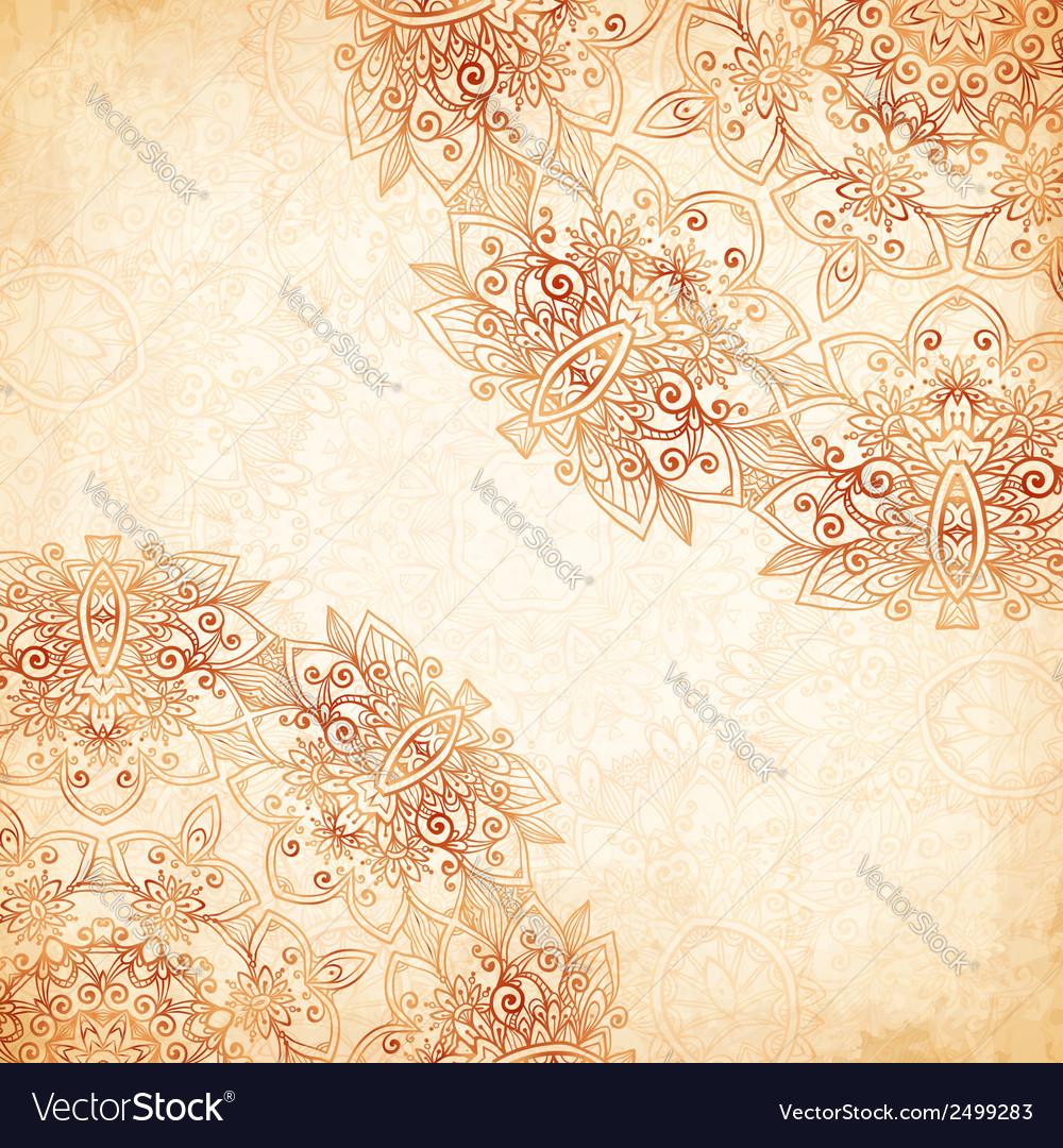 Ornate vintage vector background in mehndi style royalty free stock - Ornate Vintage Background In Mehndi Style Vector Image