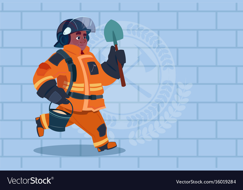 African american fireman running with shovel and vector image