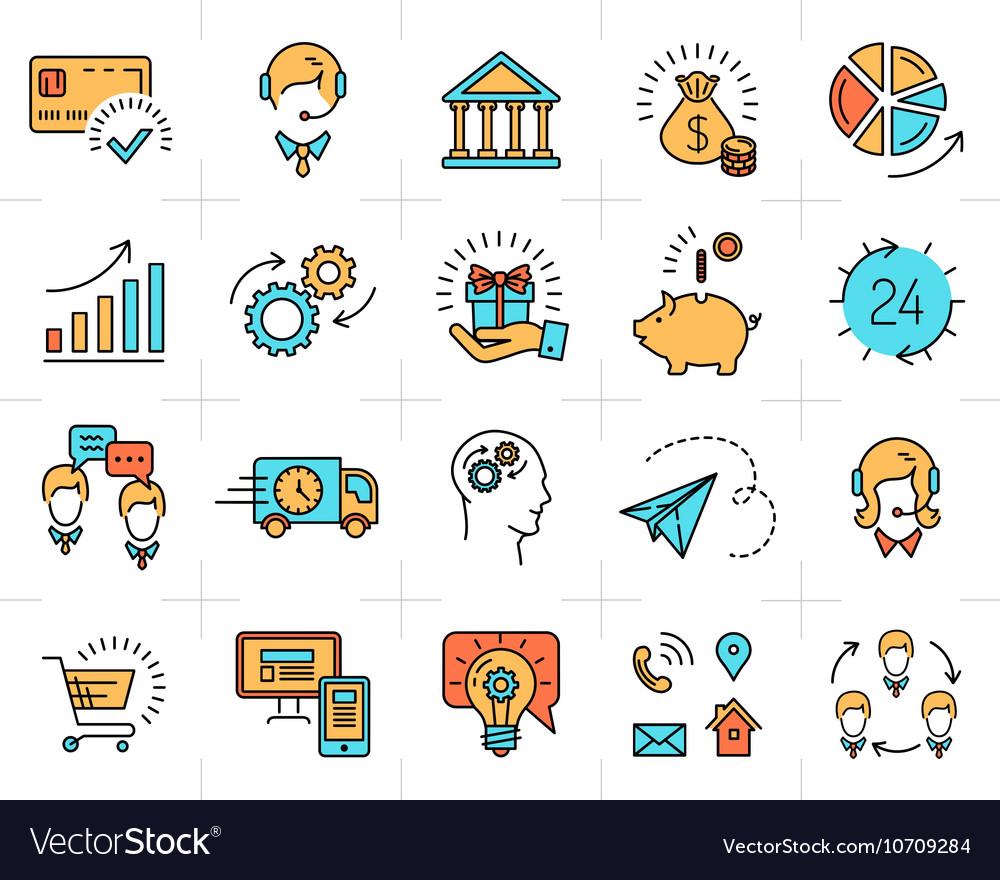 Business line icon art Flat design Market vector image