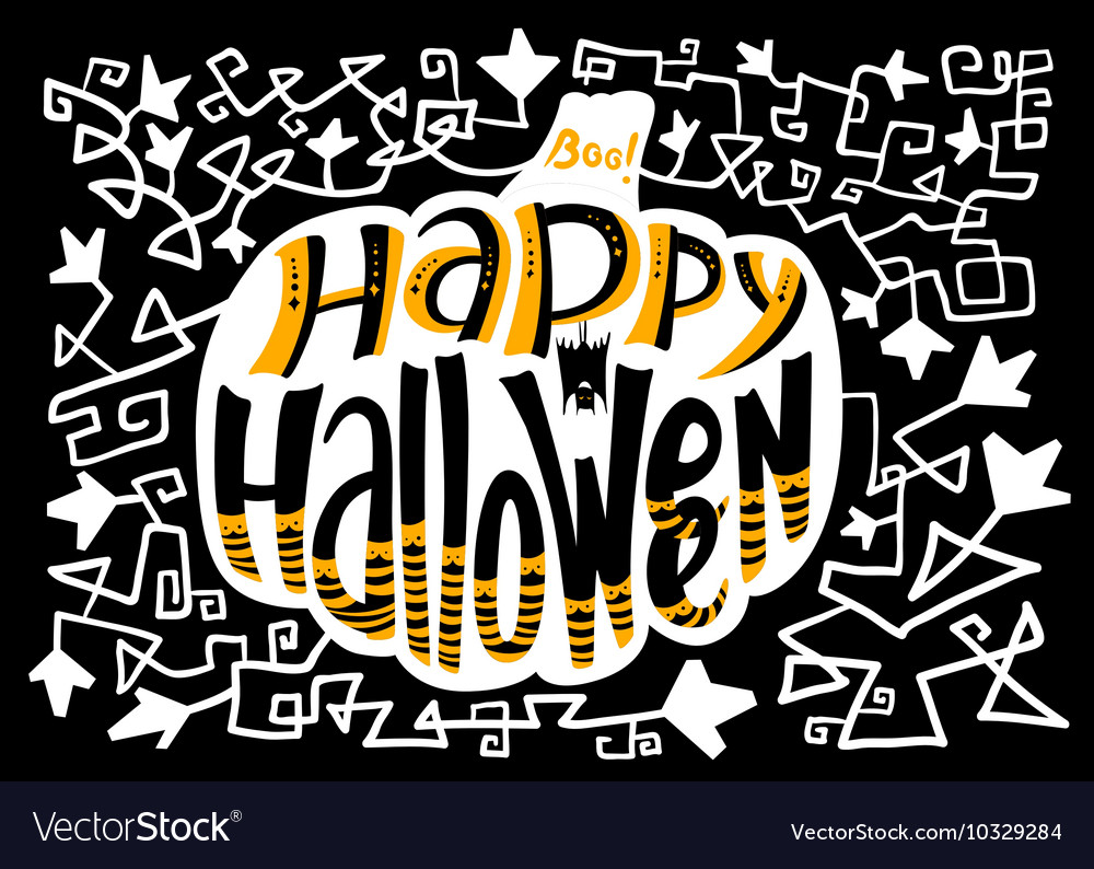 Happy Halloween lettering composition in pumpkin vector image
