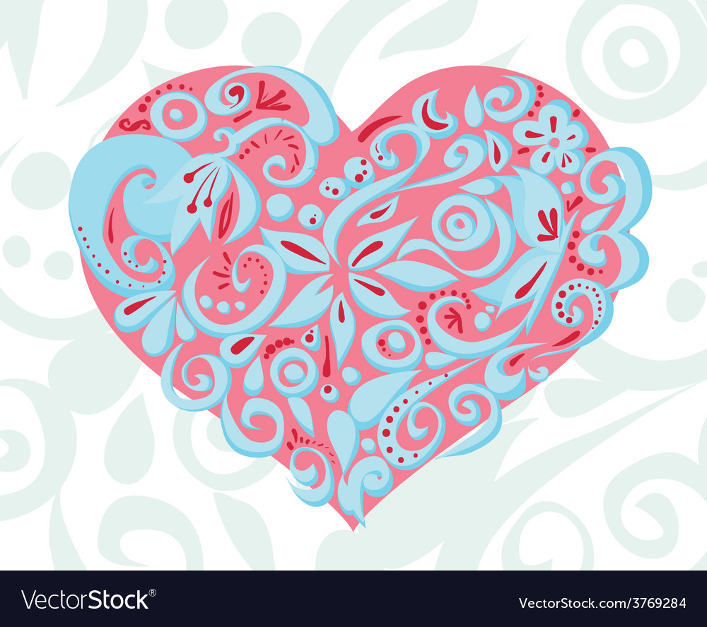 PinkBlueCarvedHeart vector image