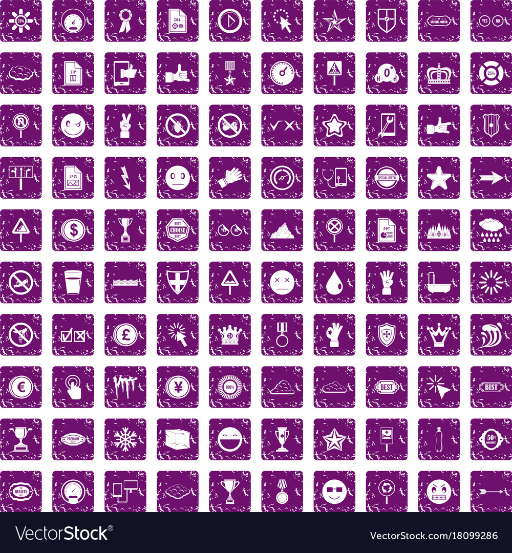 100 symbol icons set grunge purple royalty free vector image 100 symbol icons set grunge purple vector image buycottarizona Image collections