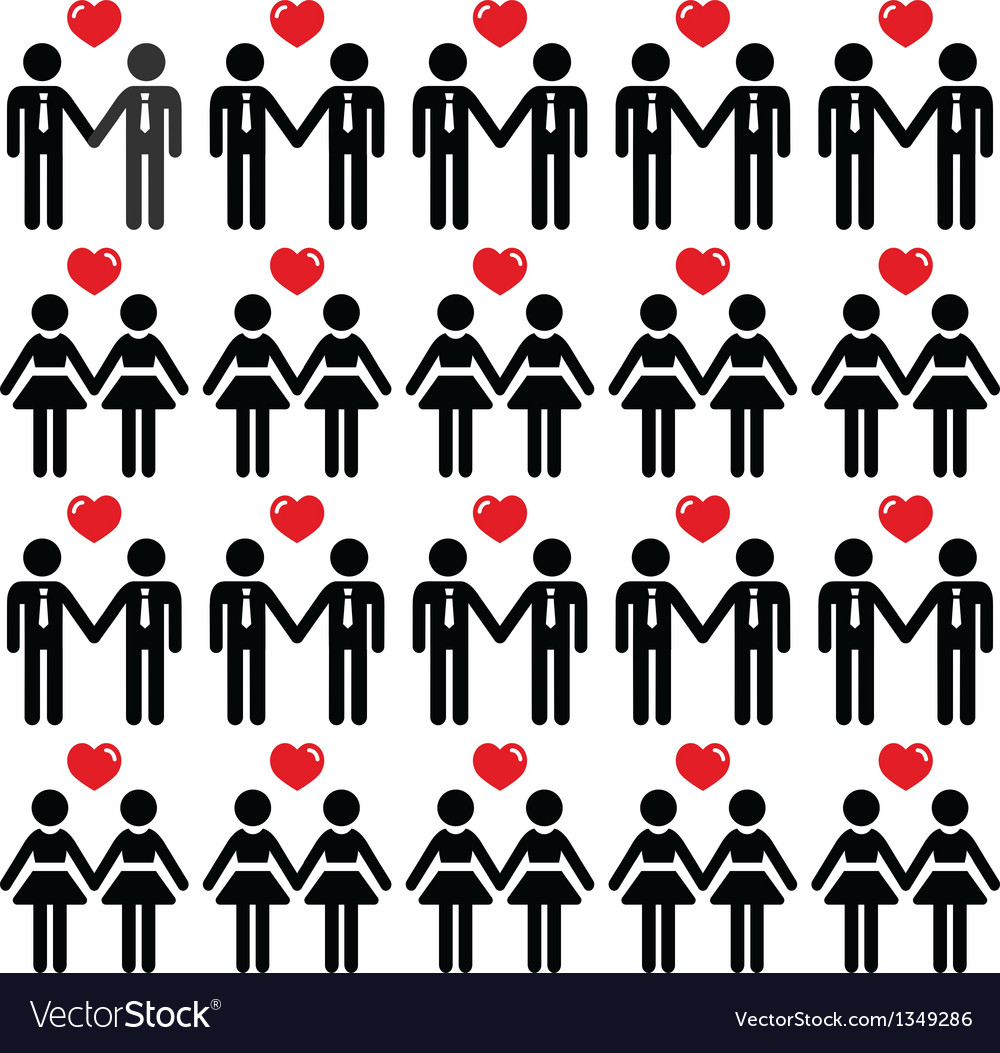 Gay lesbian couple icons card vector image
