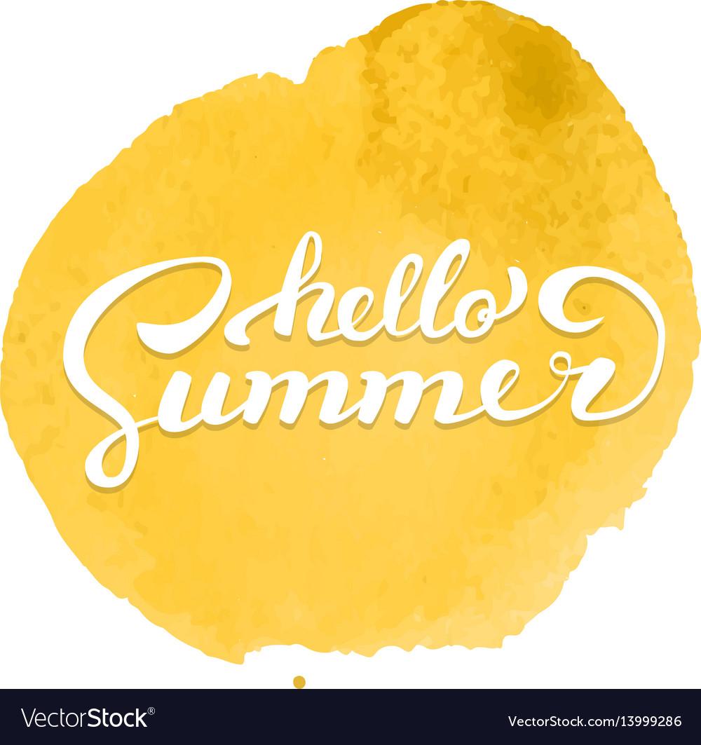 Hello summer brush handwritten lettering on vector image