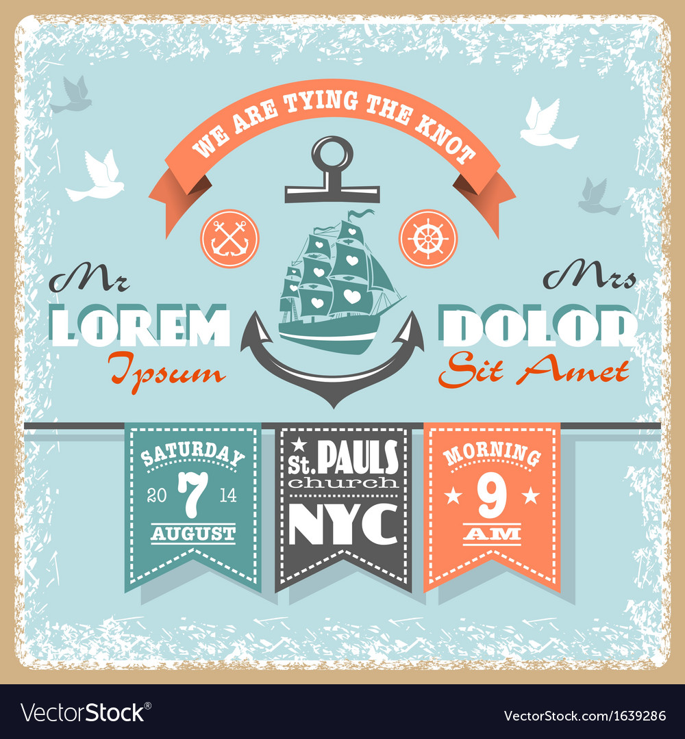 Nautical Wedding Invitation 2 xs vector image