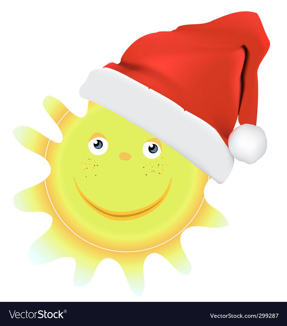 Cartoon Christmas sun vector image