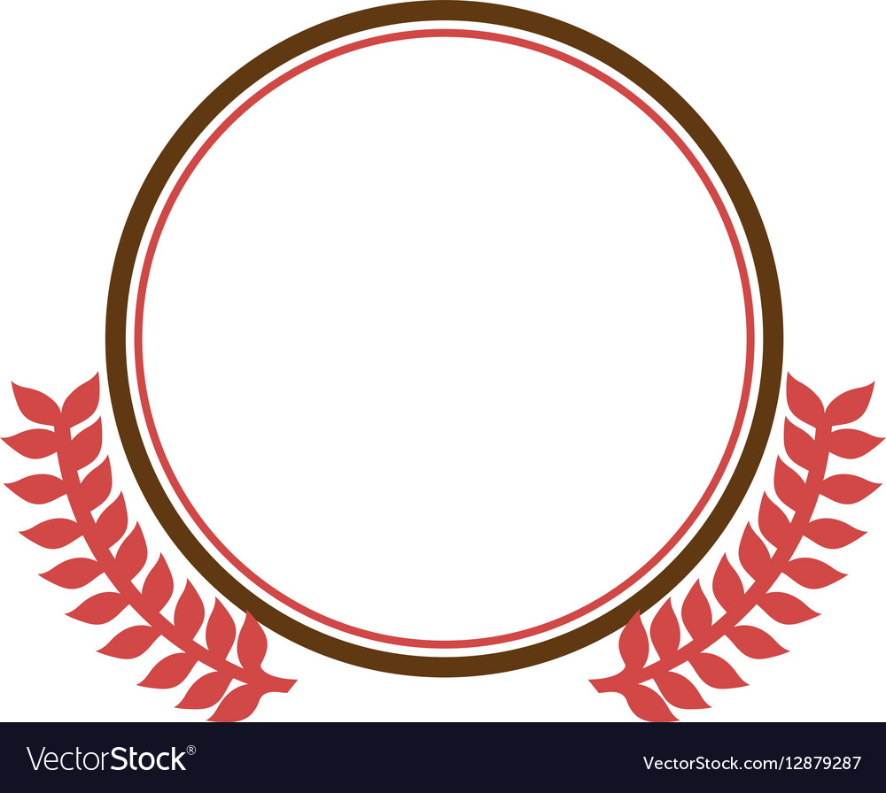 Circular border with crown branch leaves vector image