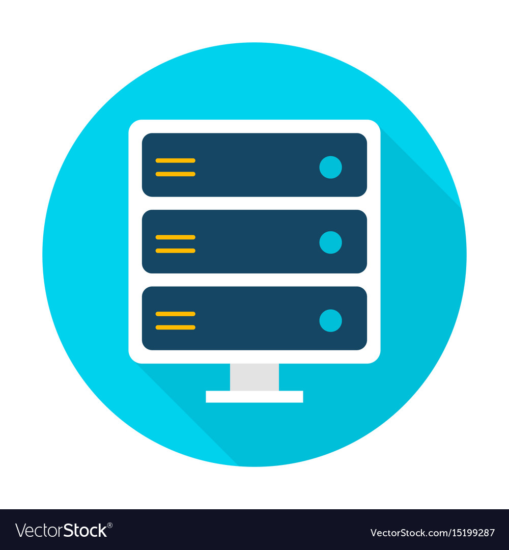 Server flat circle icon vector image