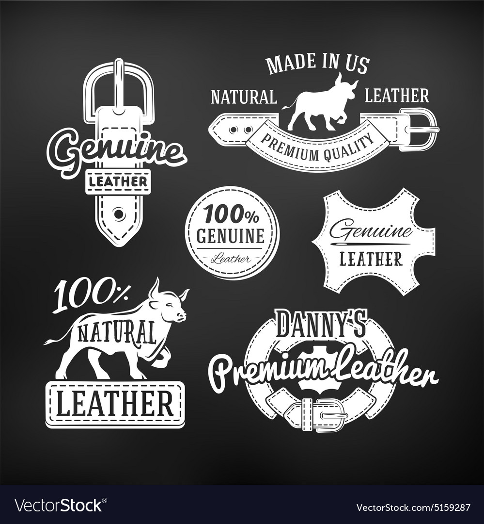 Set of leather quality goods designs vector image