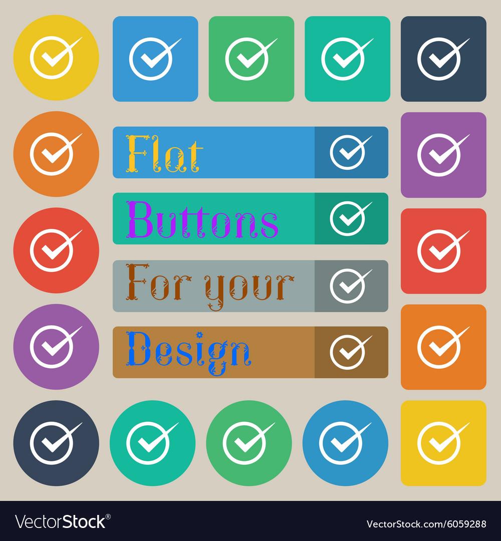 Check mark sign icon Checkbox button Set of twenty vector image