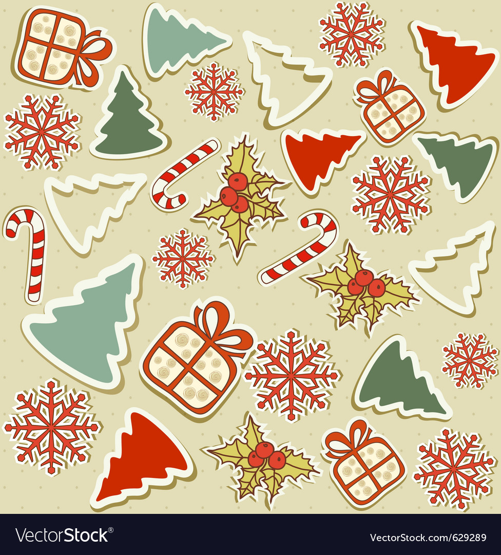 Christmas items vector image