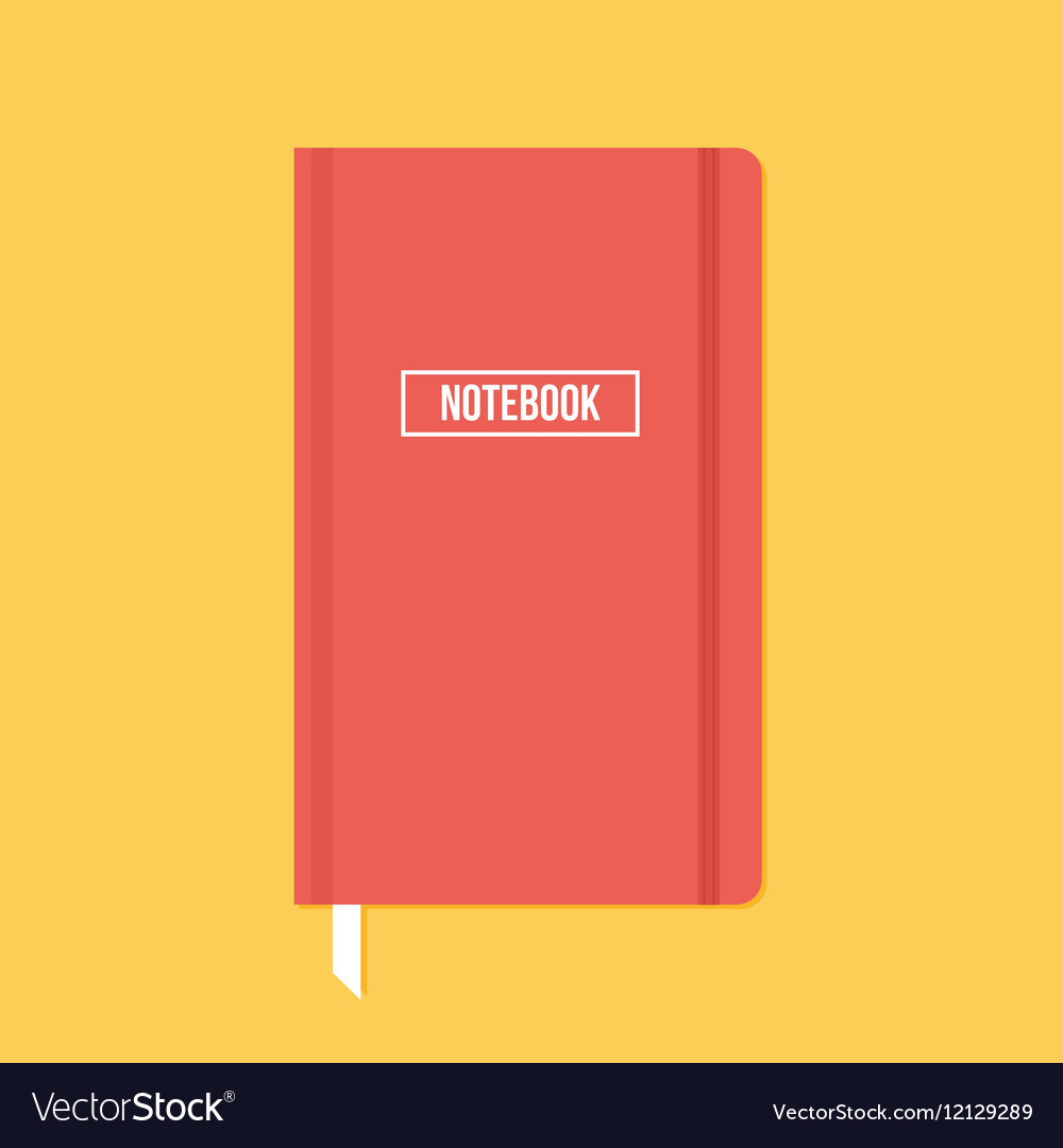 Red notebook with elastic band vector image