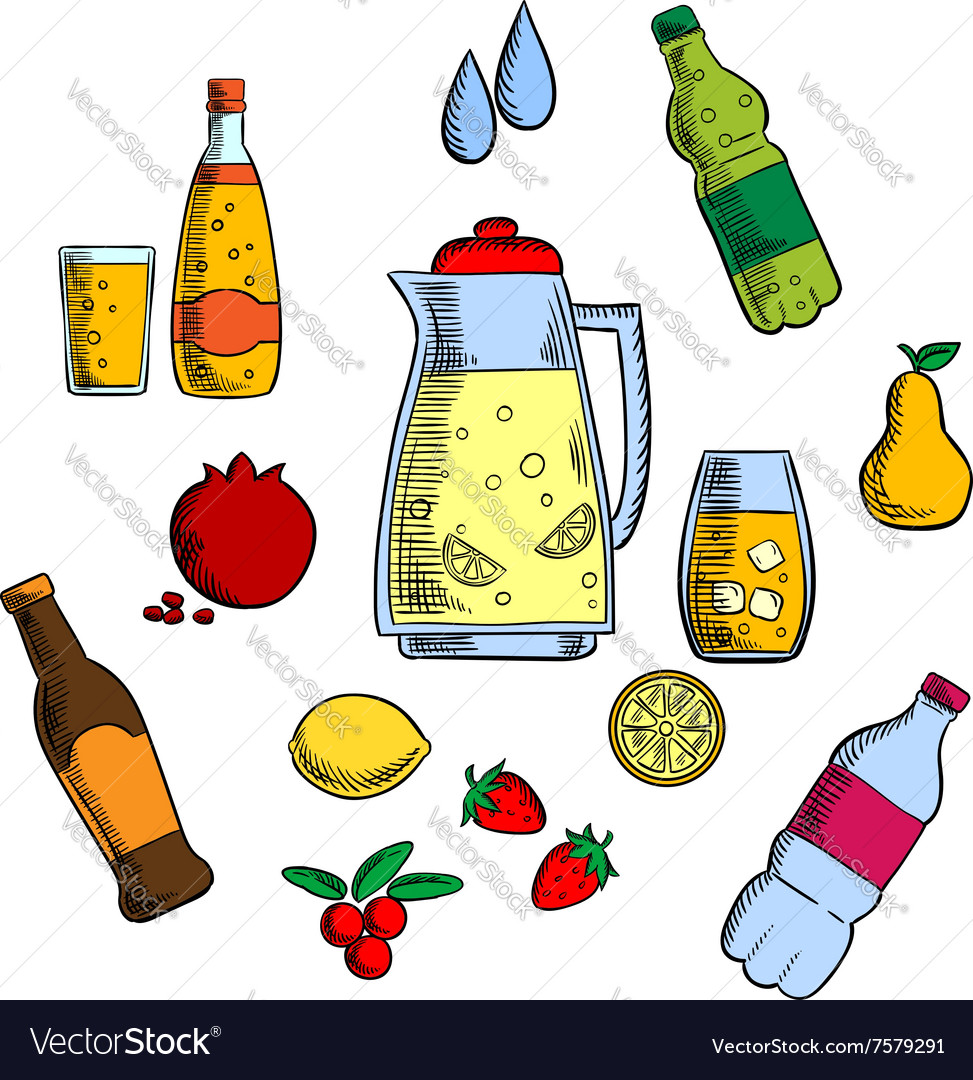 Beverages alcohol and drinks set vector image