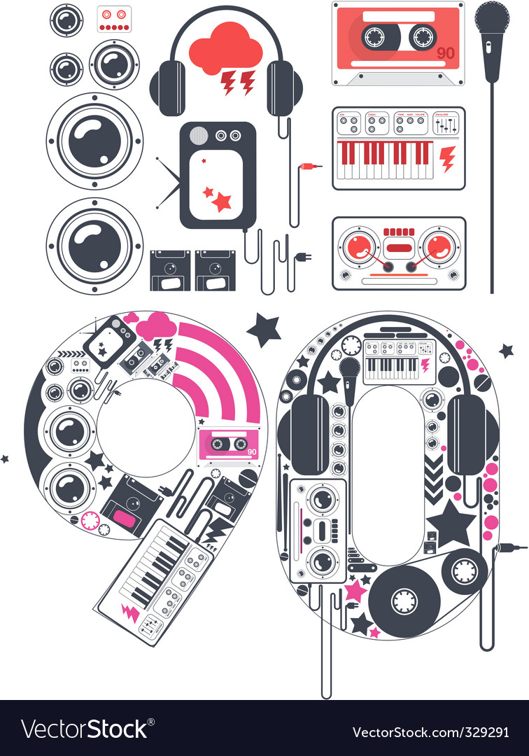 Nineties groove icon set vector image