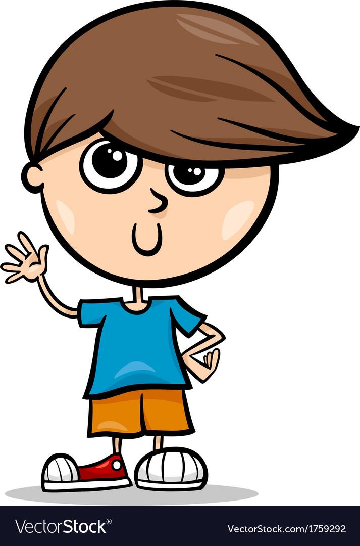 Cute little boy cartoon vector image