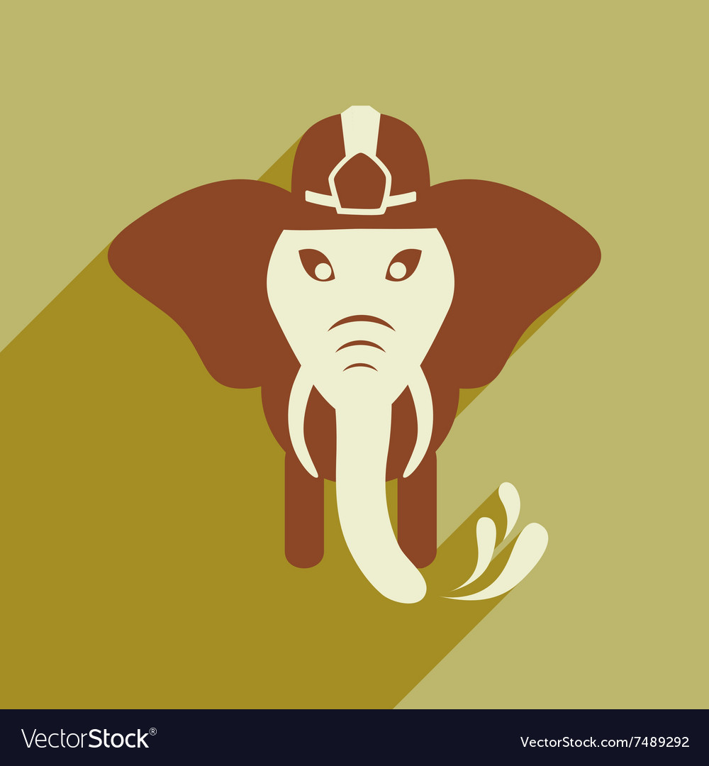 Flat icon with long shadow elephant cartoon