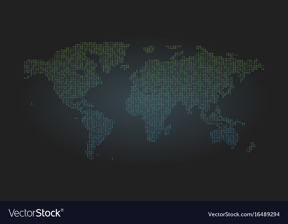Binary code world map background zero and one vector image gumiabroncs Image collections