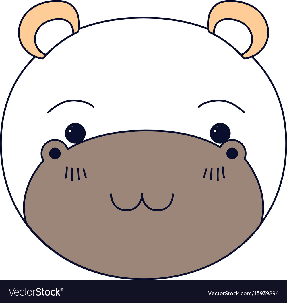 silhouette color sections of cute face of hippo vector image
