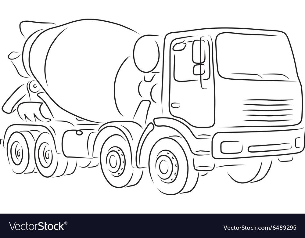 Outline of concrete mixer truck vector image