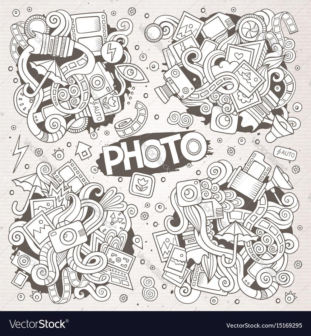 Photo hand drawn sketchy doodle designs vector image