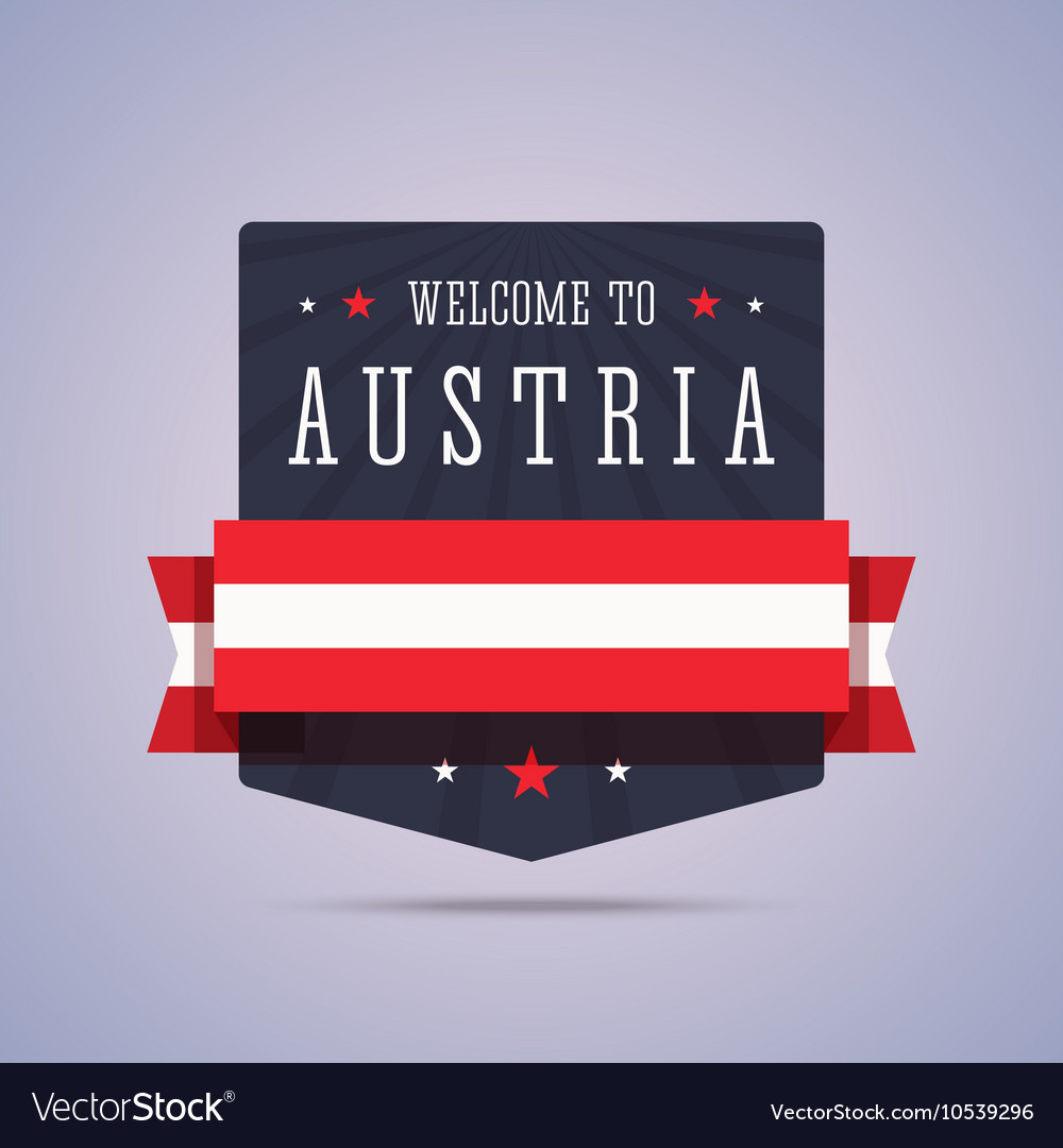 Welcome to Austria badge with national flag vector image