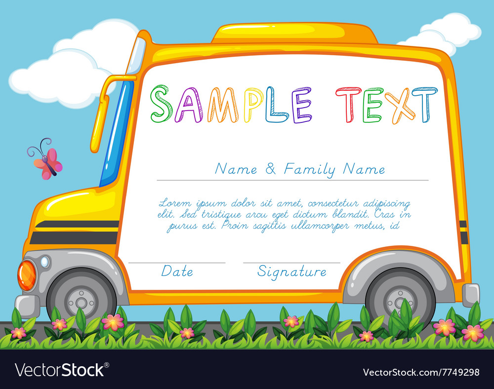 Certificate template with school bus Royalty Free Vector