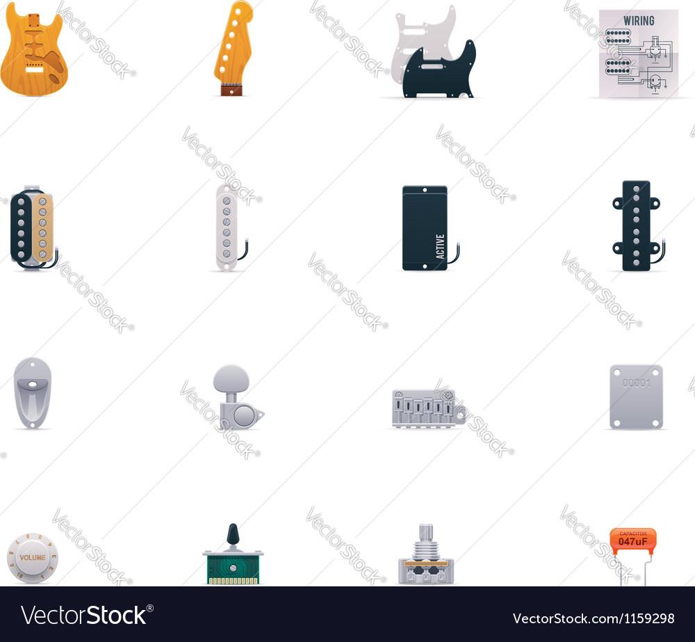 Guitar parts icon set vector image